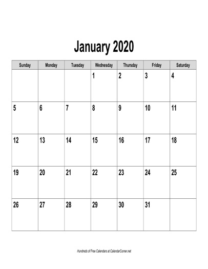 Free 2020 Calendar By Mail.Free 2020 Calendar Landscape