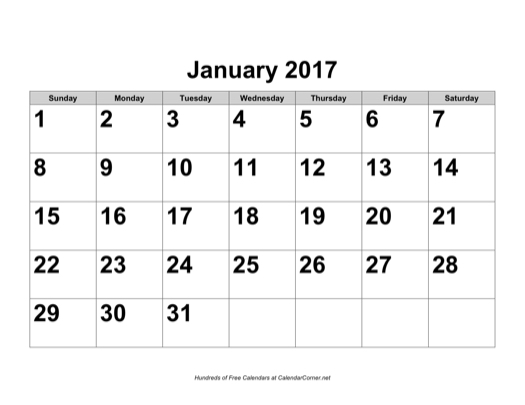 microsoft calendars 2017
