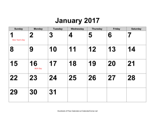 Free 2017 Large-Number Calendar with Holidays, Landscape