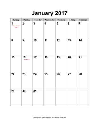 Free 2017 Calendar with Holidays