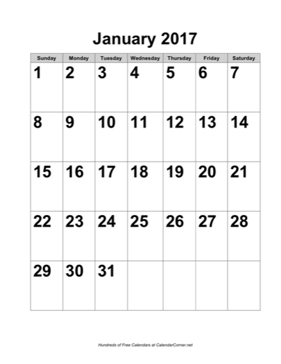 Free 2017 Large Number Calendar