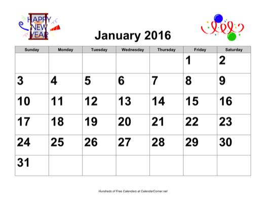 Year Calendar Jsf : Free large number holiday graphics calendar landscape