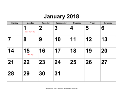 of the 2018 large number calendar with holidays landscape calendar