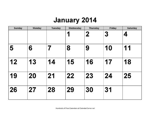 Free 2014 Large Number Calendar Landscape