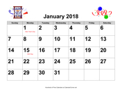 2018 Large-Number Holiday Graphics Calendar with Holidays, Landscape