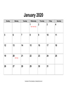 2020 Calendar, Landscape with Holidays