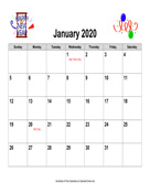 2020 Holiday Graphics Calendar, Landscape with Holidays