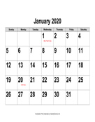 2020 Large-Number Calendar, Landscape with Holidays