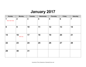 2017 Calendar with Holidays, Landscape