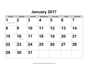 2017 Large-Number Calendar with Holidays, Landscape