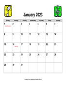 2023 Music Calendar, Landscape with Holidays
