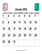 2023 Large-Number Music Calendar, Landscape with Holidays