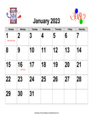 2023 Large-Number Holiday Graphics Calendar, Landscape with Holidays
