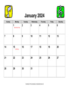 2024 Music Calendar, Landscape with Holidays