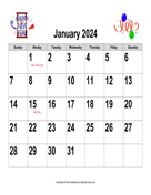 2024 Large-Number Holiday Graphics Calendar, Landscape with Holidays