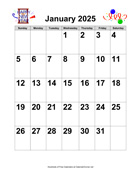 2025 Large-Number Holiday Graphics Calendar