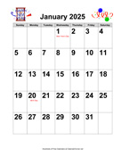 2025 Large-Number Holiday Graphics Calendar with Holidays
