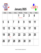 2025 Large-Number Holiday Graphics Calendar, Landscape with Holidays