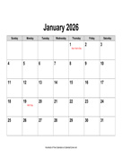 2026 Calendar, Landscape with Holidays