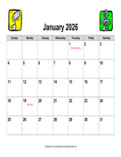 2026 Music Calendar, Landscape with Holidays
