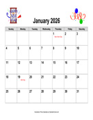 2026 Holiday Graphics Calendar, Landscape with Holidays