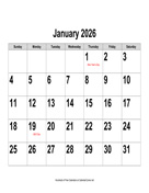 2026 Large-Number Calendar, Landscape with Holidays