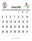 2026 Large-Number Holiday Graphics Calendar, Landscape