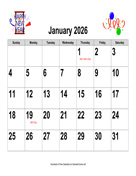 2026 Large-Number Holiday Graphics Calendar, Landscape with Holidays