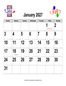 2027 Large-Number Holiday Graphics Calendar, Landscape with Holidays