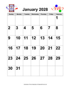 2028 Large-Number Holiday Graphics Calendar
