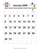 2028 Large-Number Holiday Graphics Calendar with Holidays