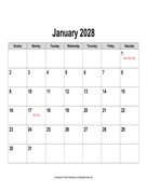 2028 Calendar, Landscape with Holidays