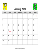 2028 Music Calendar, Landscape with Holidays