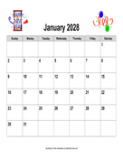 2028 Holiday Graphics Calendar, Landscape
