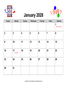 2028 Holiday Graphics Calendar, Landscape with Holidays