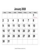 2028 Large-Number Calendar, Landscape with Holidays