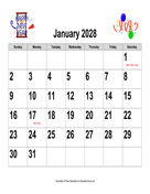 2028 Large-Number Holiday Graphics Calendar, Landscape with Holidays