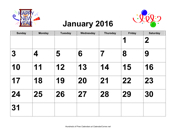 2016 Large-Number Holiday Graphics Calendar, Landscape