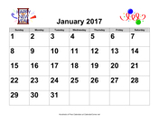 2017 Large-Number Holiday Graphics Calendar, Landscape