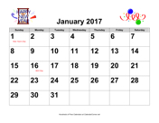 2017 Large-Number Holiday Graphics Calendar with Holidays, Landscape