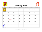 2016 Music Calendar with Holidays, Landscape