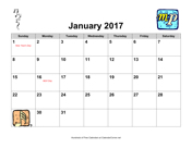 2017 Music Calendar with Holidays, Landscape
