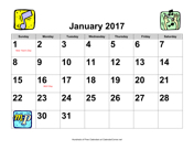 2017 Large-Number Music Calendar with Holidays, Landscape