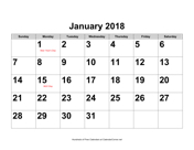 2018 Large-Number Calendar with Holidays, Landscape