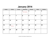 2014 Calendar with Holidays, Landscape