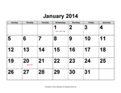 2014 Large-Number Calendar with Holidays, Landscape