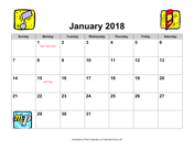 2018 Music Calendar with Holidays, Landscape
