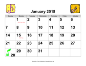 2018 Large-Number Music Calendar with Holidays, Landscape