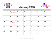 2018 Holiday Graphics Calendar with Holidays, Landscape